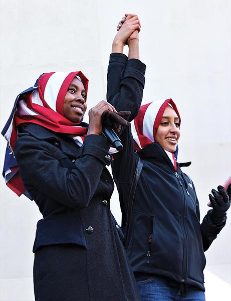 Ala Mohamed '17 and Raneem Hamad '17 acknowledge the crowd at an