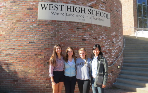 Eight students on the 2013-2014 West Side Story staff are finalists in the National Scholastic Press Association's 2014 Individual Award Contest. Pictured above are seniors Jaycie Weathers, Katie Peplow, Brittani Langland and Megumi Kitamoto. Not pictured are 2014 graduates Lydia Hinman, Hilah Kohen, Hannah Muellerleile and Blake Oetting.