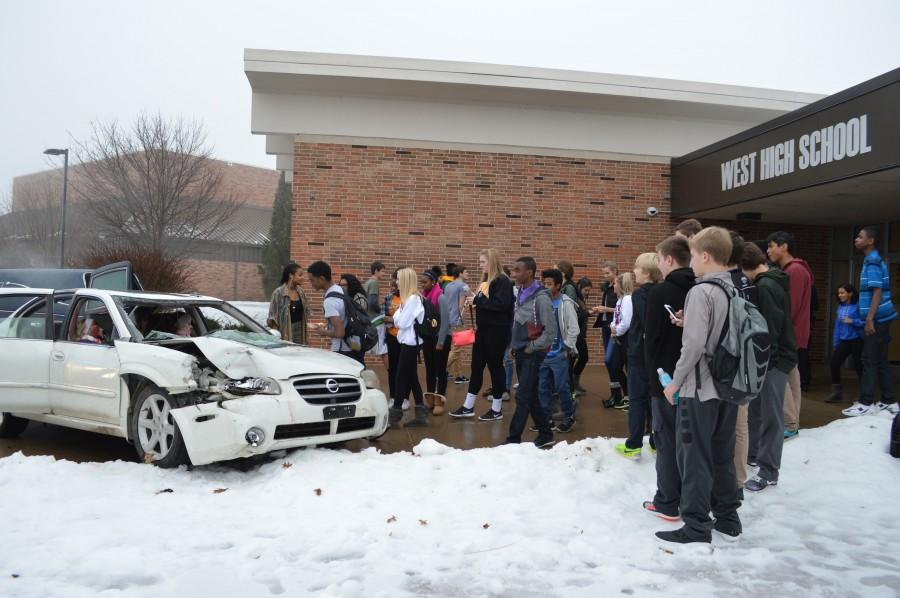 Mock accident staged in front of West