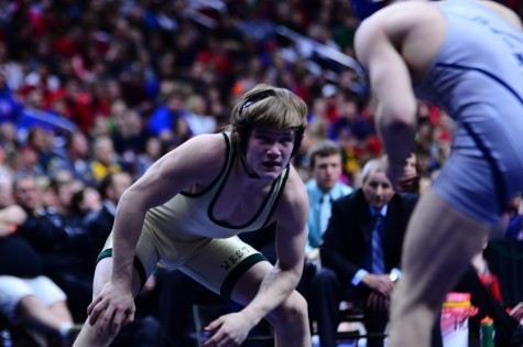 Nelson Brands `18 wrestles Clint Lembeck `16 of Cedar Rapids Xavier in the 3A 138 pound finals matchi n the 2016 State Tournament in Des Moines.