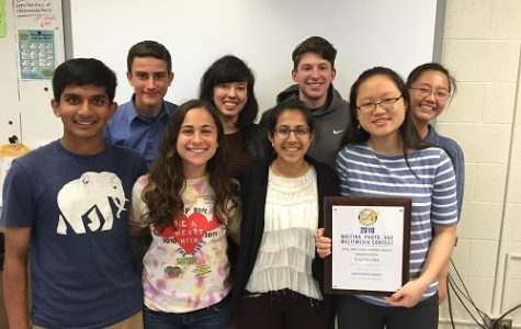 Pictured left to right (front row): Michael Moonjely, Nina Elkadi, Simran Sarin, Eugenia Chen, (back row) Shawn Thacker, Kelsey Kerenan, Aaron Carter, Sharon Xiang