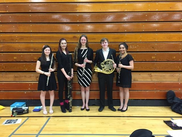 From left to right: Amy Yan '17 (flute), Kamea Holmes '17 (bassoon), Hope Anderson '16 (oboe), Ned Furlong '17 (french horn), Anoushka Divekar '16 (clarinet)