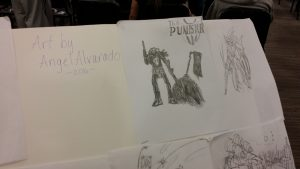 Alvarado's depiction of The Punisher from Marvel. This is Alvarado's favorite piece of artwork on display at the event.