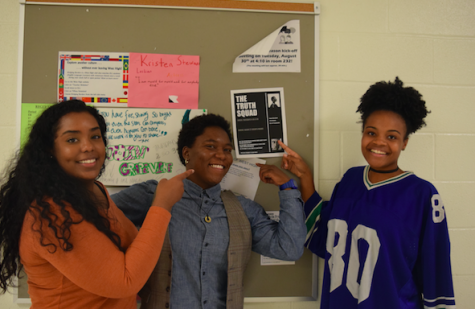 Safeya Siddig '18, Chanelle Thomas and Jade Merriwether '17 want you to join Truth Sqaud. (Cameron Cook)
