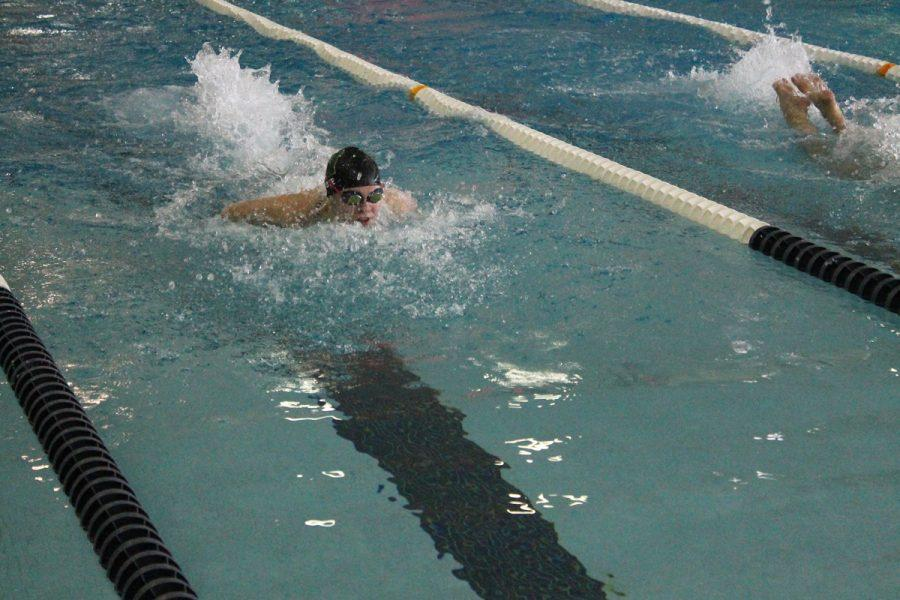 Lily Ernst swims butterfly in the 200 IM