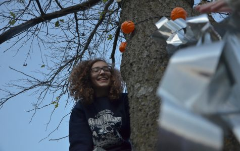 Atop a ladder, Emma Grace Shoppa '20 hangs the last of the lights in the courtyard.