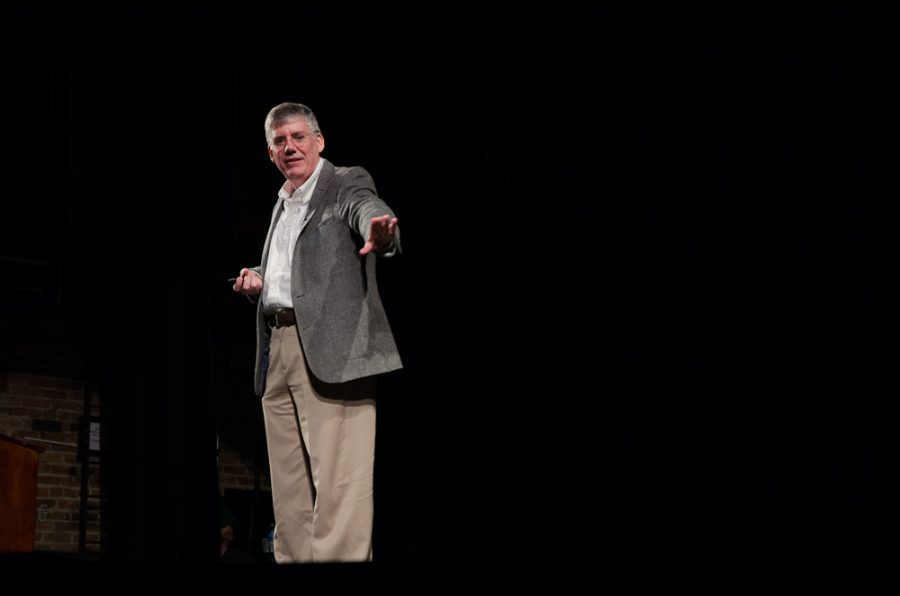 Author Rick Riordan took the stage before a sold out audience.