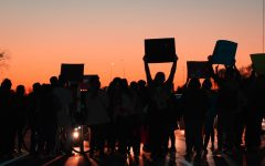 Protesters chanting Anti-Trump slogans on the interstate.