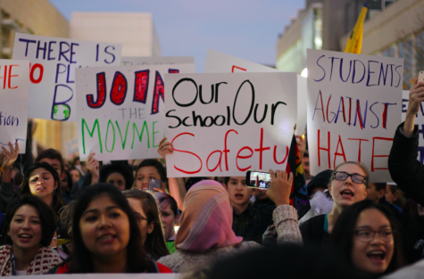 """A photo featured in """"Students lead anti-hate protest, work to end discrimination""""—one of 10 finalists in NSPA's Multimedia News Story of the Year contest."""