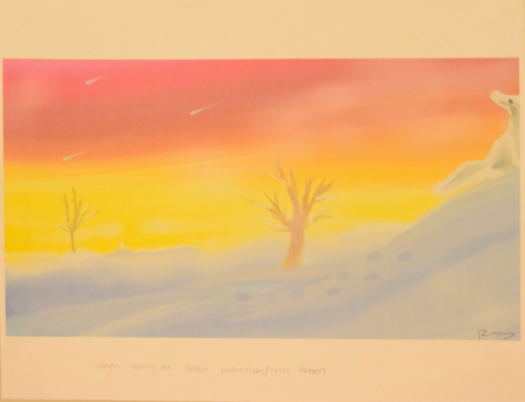 A landscape Moses drew while looking at a color chart.