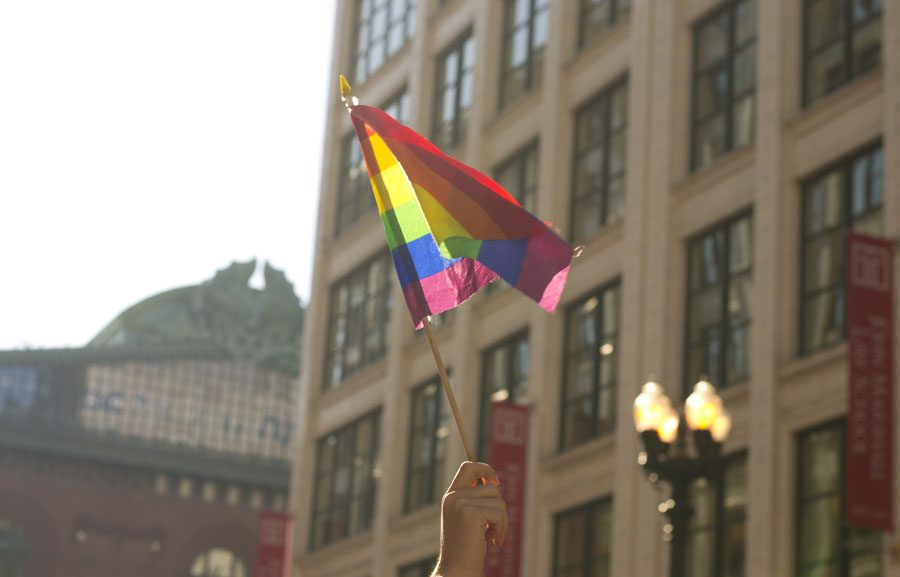 A protester waves a flag symbolizing LGBTQ support during the Women's March on Chicago.
