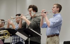 The Jazz Band trumpet section practices.