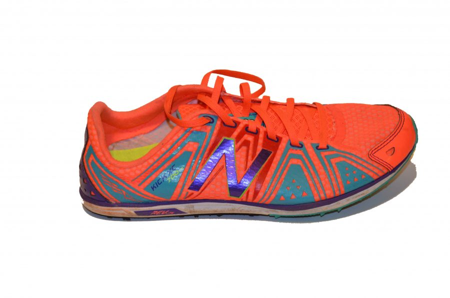 Featured here are New Balance track shoes, though several other brands including Nike, Saucony and Asics are also popular. The shoes are designed to be light so they don't weigh the runners down.