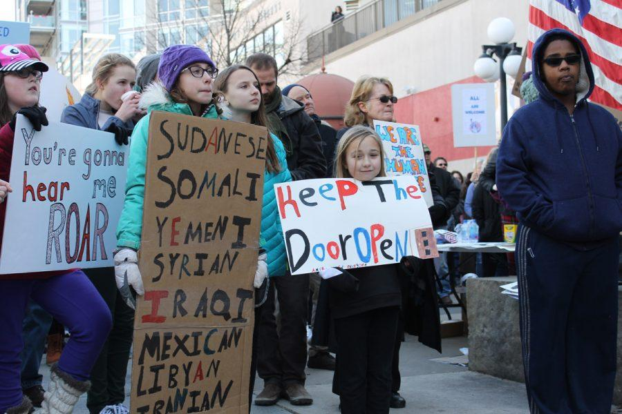 Children show support for the seven countries to which the Muslim ban applies.
