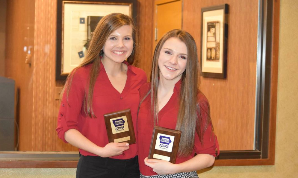 Anna Jacoby and Hannah Luce pose with their awards from BPA state.