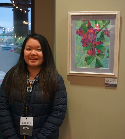 Maddy+Epping+and+Lydia+Guo+are+among+17+Iowa+City+West+High+School+students+whose+art+is+featured+in+Veridian+Credit+Union%E2%80%99s+ArtShare+exhibit.+The+collection+was+unveiled+at+an+ArtShare+Premiere+on+Monday%2C+February+27+at+the+credit+union%E2%80%99s+Coralville+branch%2C+where+all+20+pieces+will+remain+on+display+for+one+year.