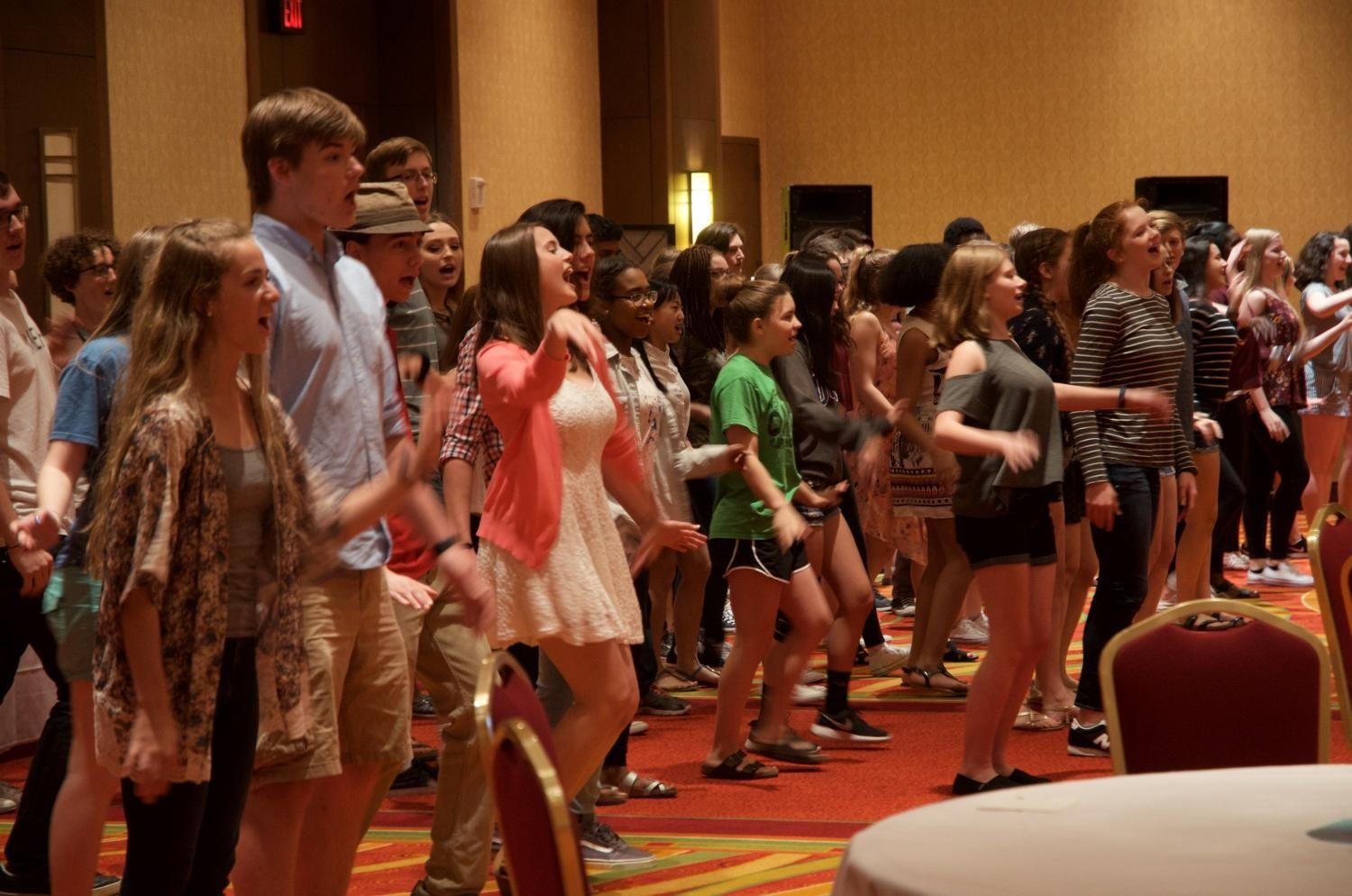The Festival of Flowers featured a flash mob performance by the West High choirs, performing