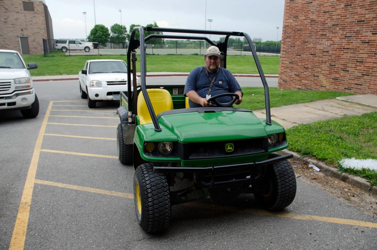 Donnie also loves driving the Gator down to the soccer games to set things up before they start.