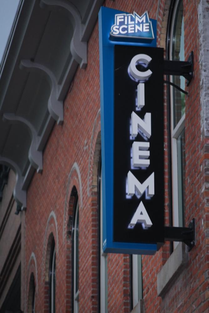 Sign of local theatre, Film Scene, located downtown Iowa City.
