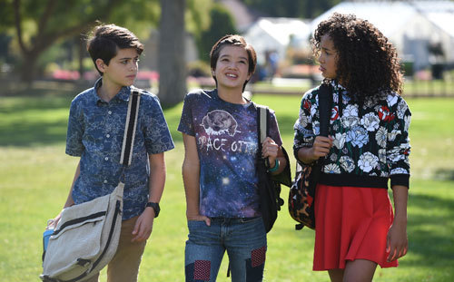 Joshua Rush, Peyton Elizabeth Lee, and Sofia Wylie in the middle of a scene. (Disney Channel)