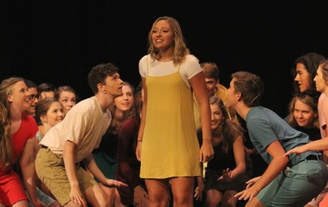 "Pieper Stence '18 performs as the lead in the last act of the Summer Showcase during dress rehearsal on Thurs., July 27. When asked what her favorite part about the Summer Showcase Stence said, ""[I like] being able to perform with so many great performers!"""