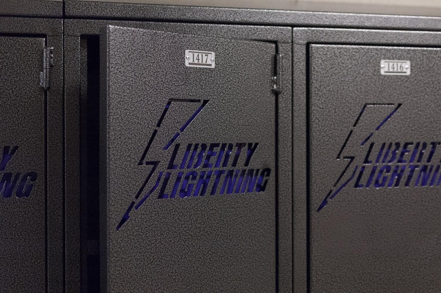 The new lockers at Liberty High are personalized with the Bolts' logo.