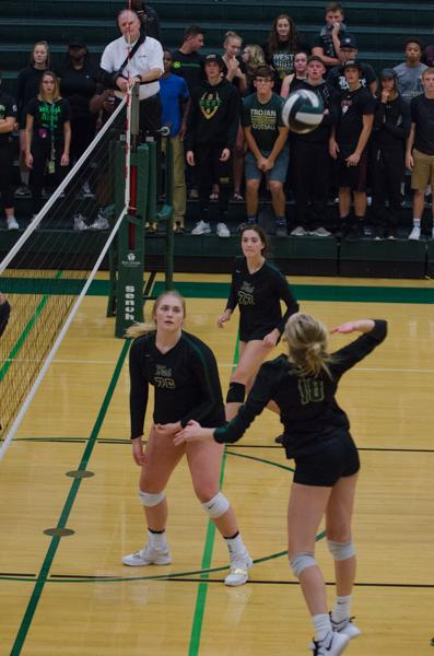 Maddie Laffey '18, gets ready to spike the ball in the third set of the game against Jefferson on Sept. 26.