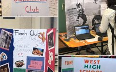 Tri-fold displays from japanese culture club, young conservatives club, french club and west high school dance marathon.