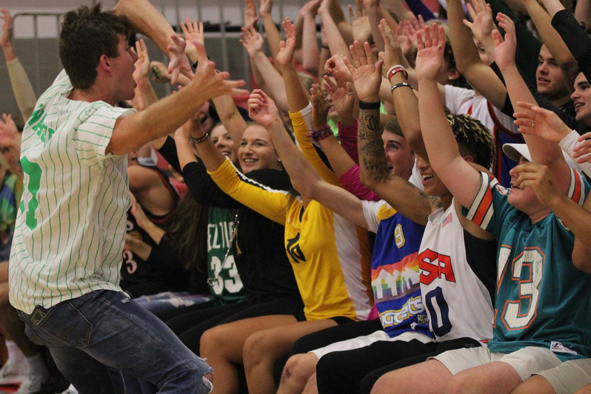 Austin Geasland '18 leads the rollercoaster during halftime on Tuesday, Sept. 5.