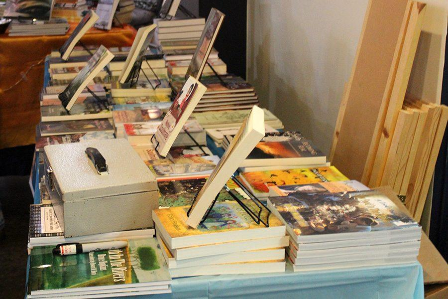 Many books were on display at the Iowa City Book Festival on Saturday the 14.
