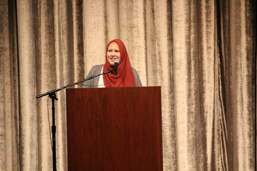 G. Willow Wilson smiles during her speech at Hancher Auditorium about the makings of her career.