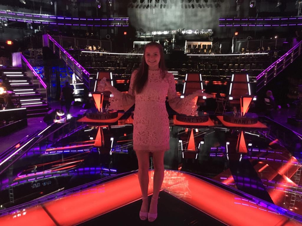 Abbie Callahan '20 shows off the set of the popular music competition reality show. (Courtesy of Abbie Callahan)