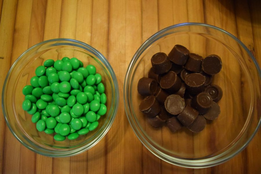 Rolos and M&M's create the stem and leaf.