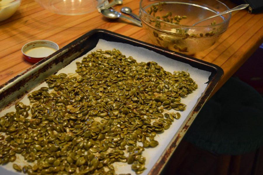 Seeds have to be spread evenly on a tray before being cooked.