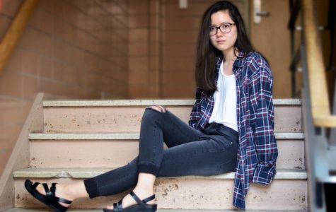 Buck takes on a more traditional fall look, with a Ragstock flannel, Target white t-shirt, Charlotte Russe jeans and shoes from Von Maur.