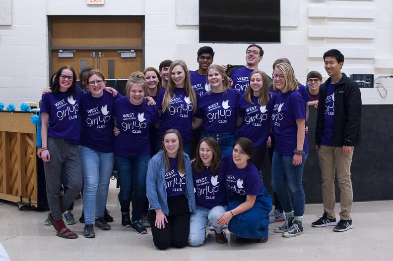 West's Girl Up club members pose for a photo after their first fundraiser on Dec. 8 in the cafeteria. The club raised well over $1,000 for girls programs in need of assistance.