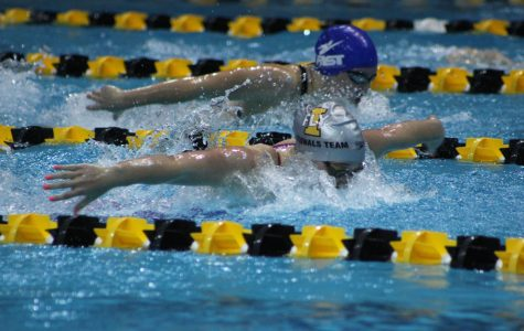 Ruby Martin '18 swims the 200 fly finals. She finished with a time of 1:56.05 on Saturday, Dec. 9.