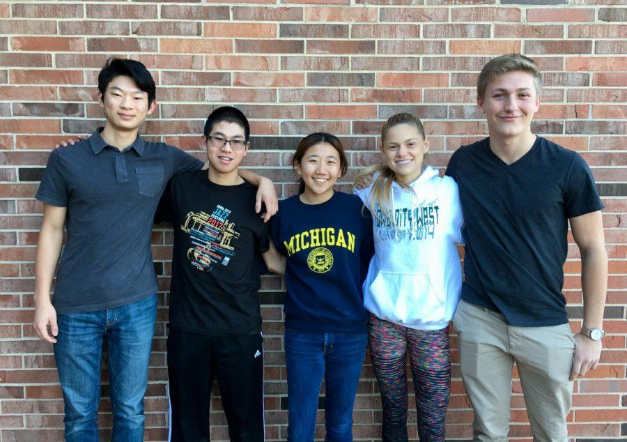 From left: Lien Zhu '18, Yangtian Shangguan '19, Wingel Xue '18, Colleen Bloeser '18 and Quinn Baker '18. Not pictured: Steven Yuan '19.