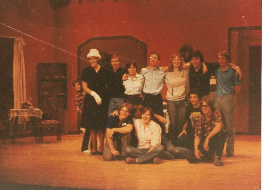 Crew (and some cast) of We Have Always Lived in the Castle, fall 1981: (Back) David Semel; Jan Smalley, '82; Bill Johnson, '82; Nancy Schuchert, '82; Wes Overton, '83; Cyndi Skiff, '82; Doug Hanson, '83; and Dennis Stevens, '82. (Front) Pat Stessman, '82; Phil Lewis, '84; Carrie (Lewis) Westcott, '82; Glenn Offerman, '84; and Ron Bream, '83.