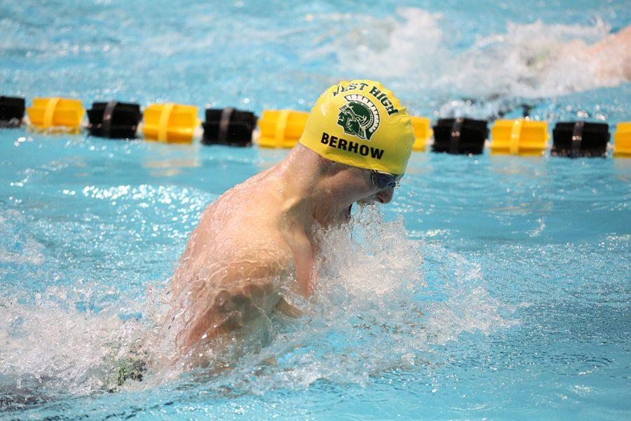"Ben Berhow '18 competes in the 100-meter breaststroke race at the Iowa High School State Swim Meet. He placed 13th overall with a time of 1:00.38 on Saturday, Feb. 10. When asked what it was like swimming at the Campus Recreation Wellness Center (CRWC), Berhow said, ""It was amazing to get to swim in a pool that has had so many swimming legends. Olympians and NCAA champions have been in that water before and it's humbling to get to share it with them."""