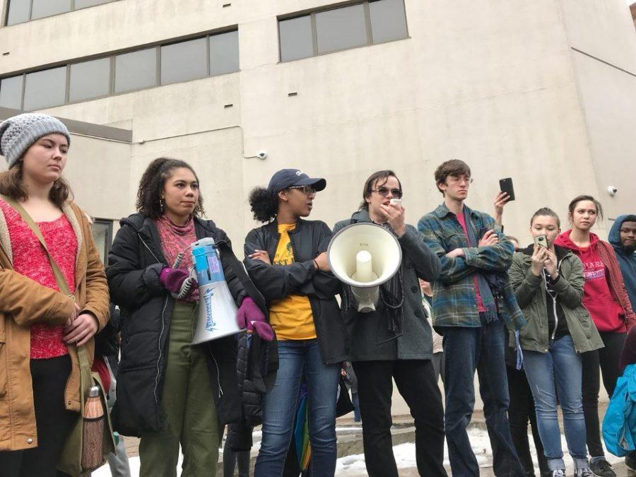 City High class president Teagan Roeder '18 gives a speech during the walkout on Feb. 19 in downtown Iowa City.