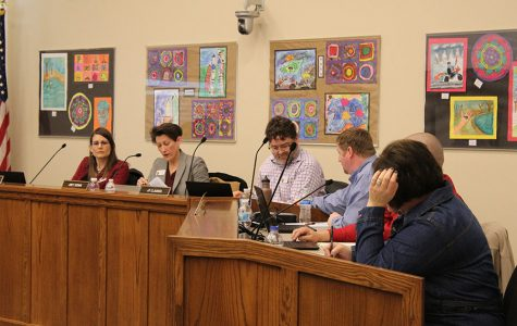 The school board listens to grievances about the original proposal for secretary contracts on Tuesday, Feb. 13.