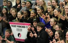 The student section and the girls basketball team poses in front of the state qualifier banner on Tuesday, Feb. 20.