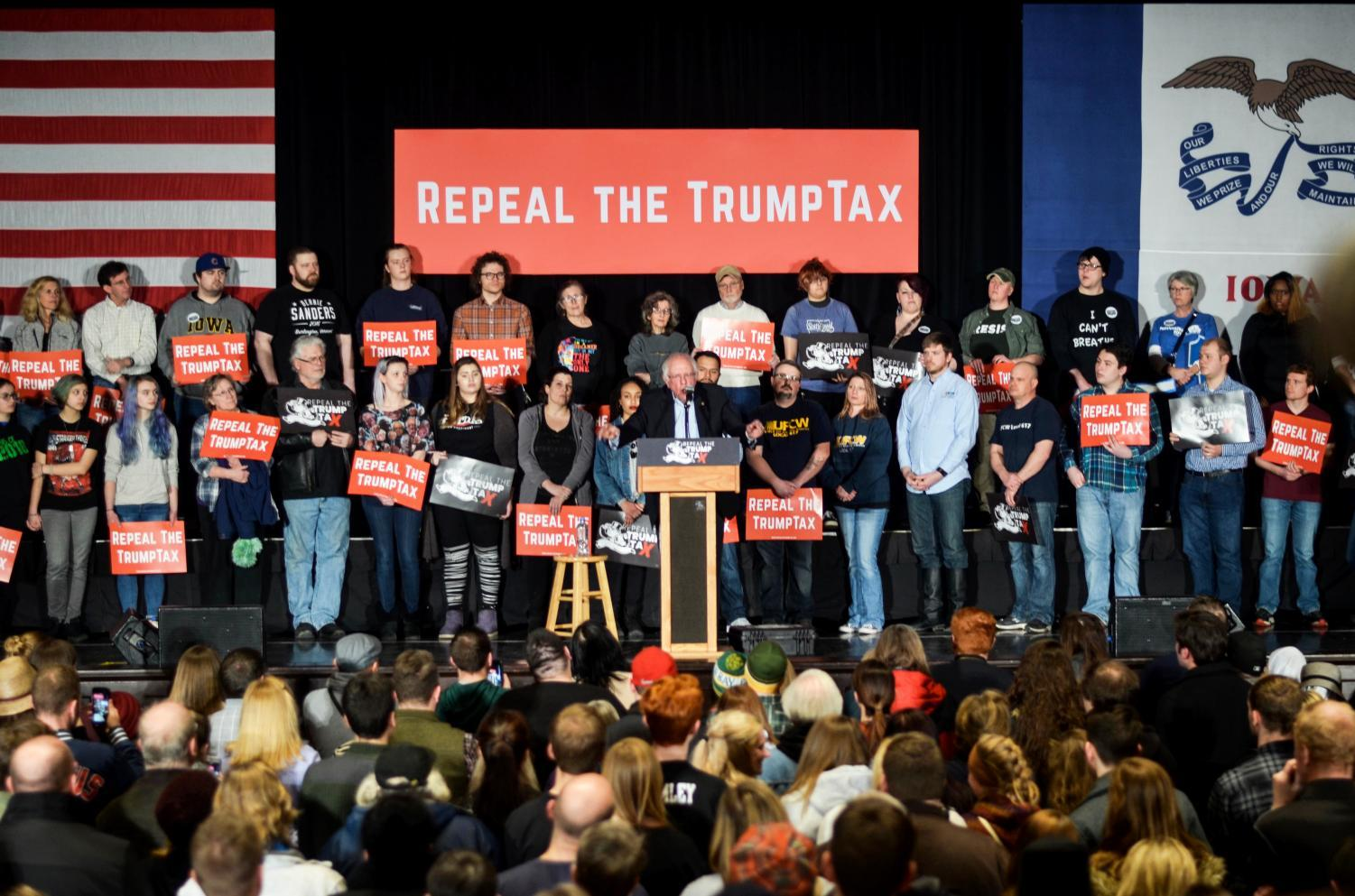 Senator Bernie Sanders meets with Iowans in Cedar Rapids on Friday, Feb. 23 to advocate for repealing President Donald Trump's tax plan.