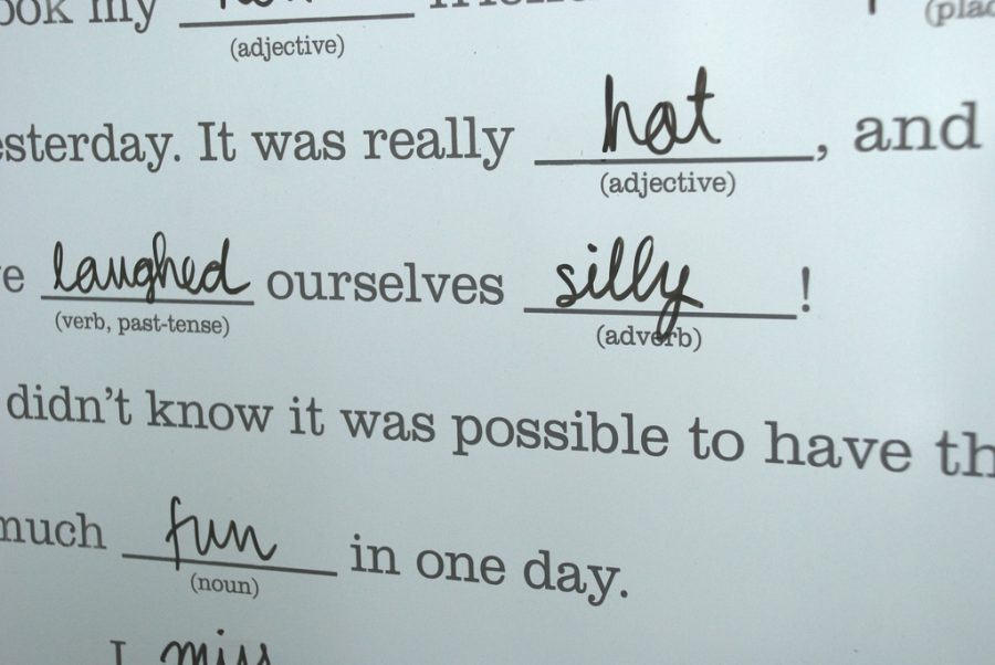 Fill in the blank stories became popular with Mad Libs, where people wrote in words pictured in the photo.