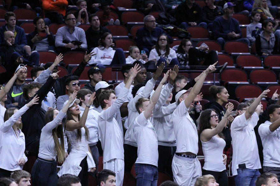 The+student+section+tries+to+distract+the+Waukee+players+during+the+second+half+of+the+game+on+Thursday%2C+March+8.