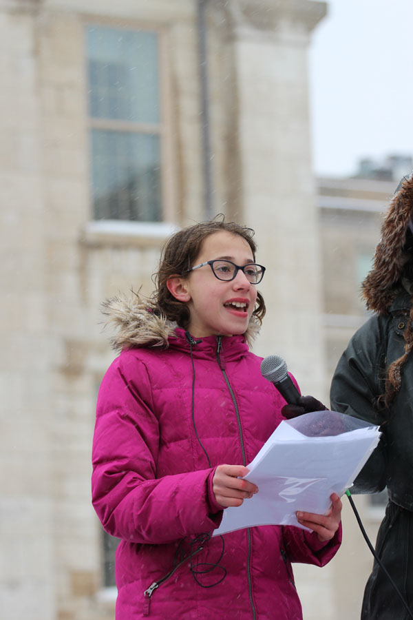 Margalit+Frank%2C+a+sixth+grader+from+Longfellow+Elementary%2C+speaks+in+front+of+the+crowed+on+Saturday%2C+March+24.+