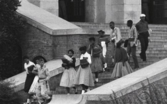 The Little Rock Nine on the steps of Central High School, in Little Rock Arkansas.