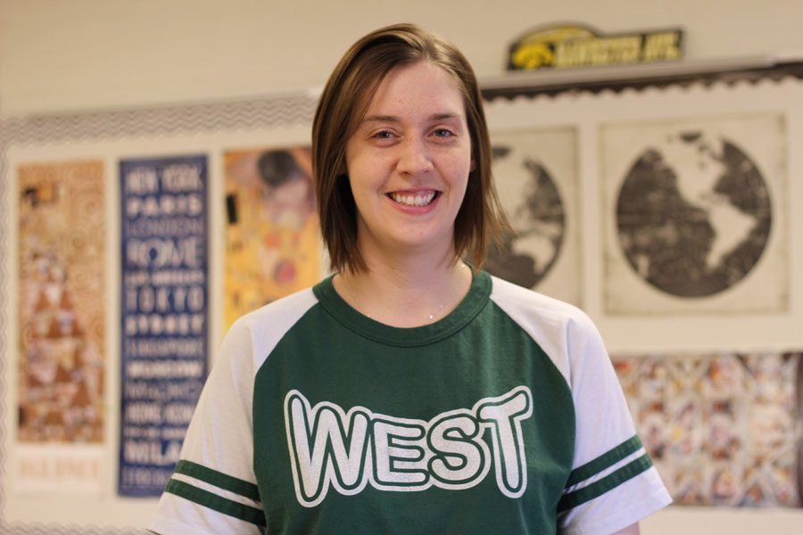 Social studies teacher, Megan Johnson poses for a photo in her classroom on Wednesday, March 7.