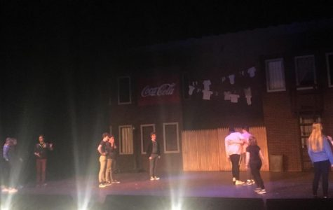 The cast practices during a rehearsal on April 5.